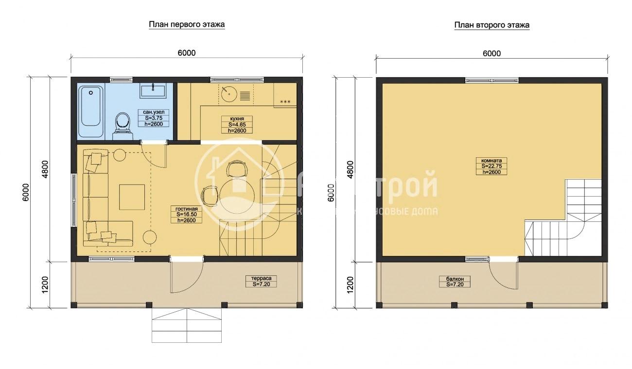 План проекта «Перрин»дом – 72 м2