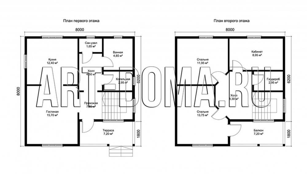 Фотография плана постройки деревянного каркасного полутораэтажного дома