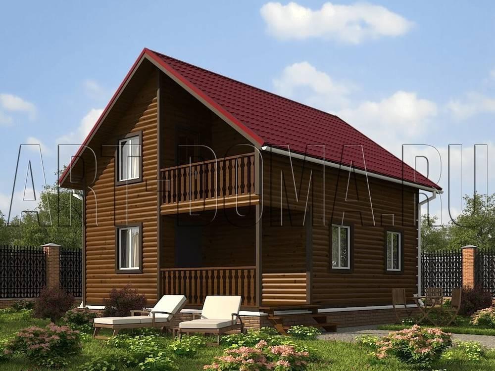 "Дом из бруса 6х8 ""антуриум"": полтора этажа, балкон, терраса.."